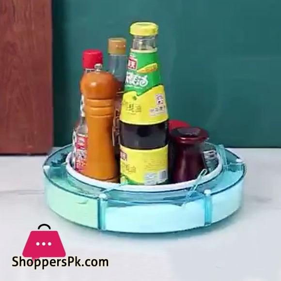 Rotating Spice Storage Rack Round Rotating Tray