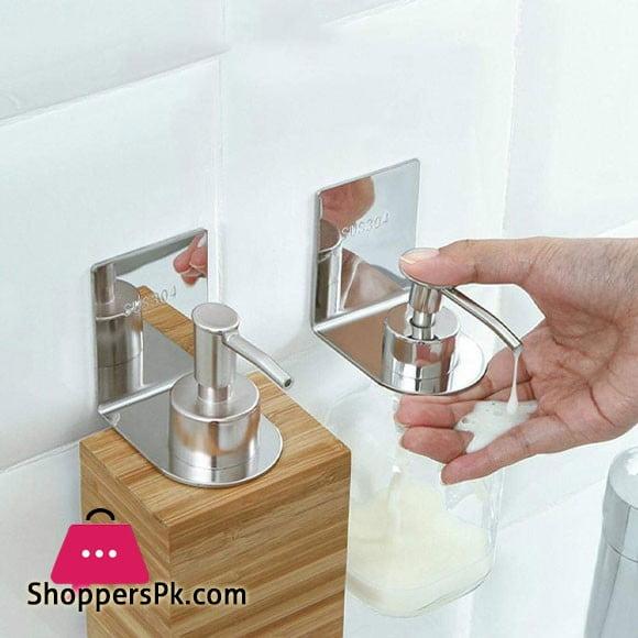 Shampoo Holder Hook Self Adhesive Wall Mounted Shower Gel Bottle Stainless Steel Rack Bathroom Bottle Holder Shower Kitchen Hand Sanitizer Pump