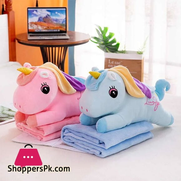 Unicorn Plush Pillow & Blanket Set