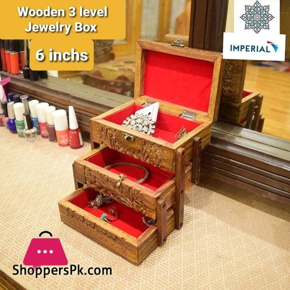 Wood 3 Level jewellery Box 6 Inch