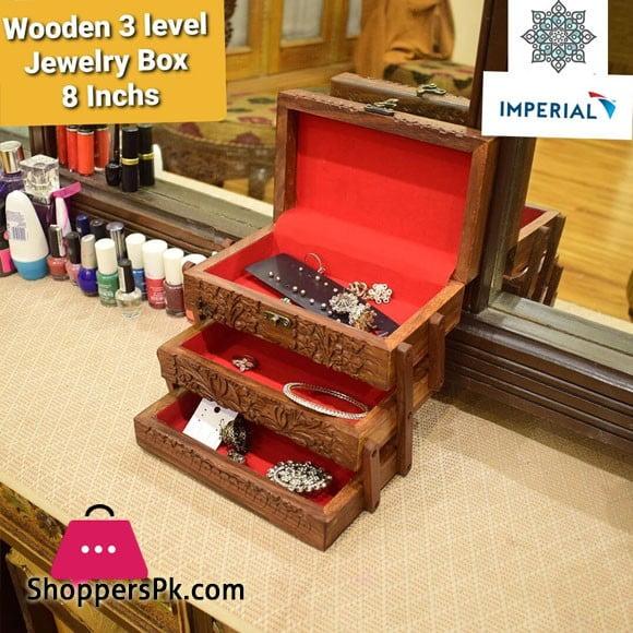 Wood 3 Level jewellery Box 8 Inch