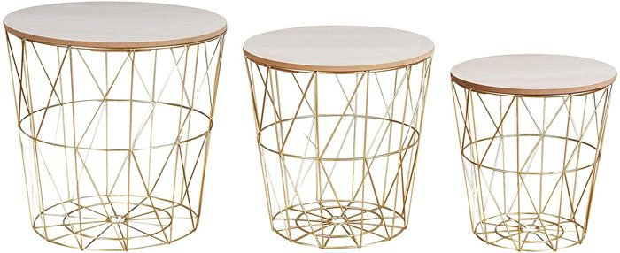 levandeo Metal Basket / Wire Basket Side Tables, Copper, Coffee Table, Storage with Lid, Designer Decorative Table, Set of 3