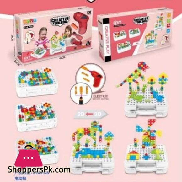 Kids Playing Creative Tool Box 214 pcs