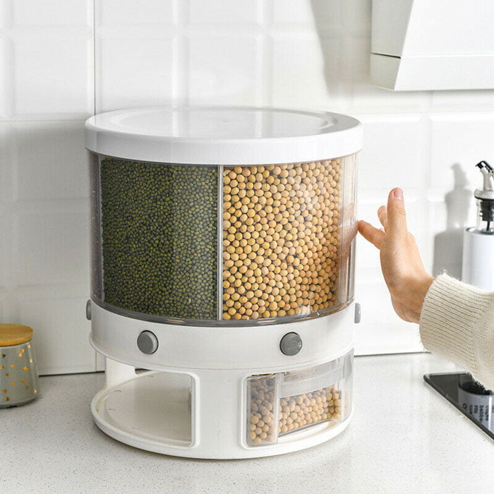 12 KG Rotation Rice & Grains Dispenser With 6 Partition Grids
