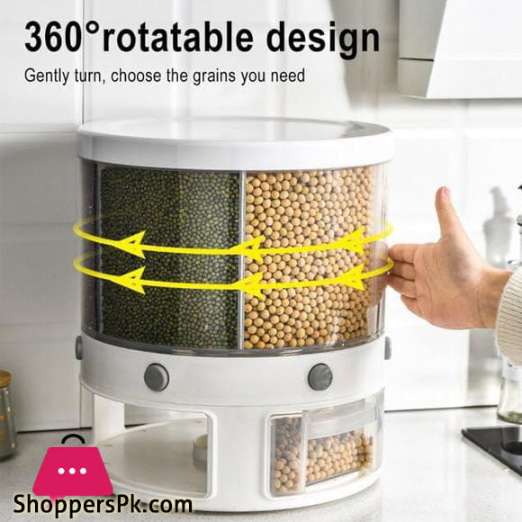 12 KG Rotation Rice & Grains Dispenser With 6 Partition Grids