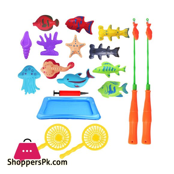 18 Pcs Children's Fishing Toy Set Bath Toy Magnetic Fishing Toy