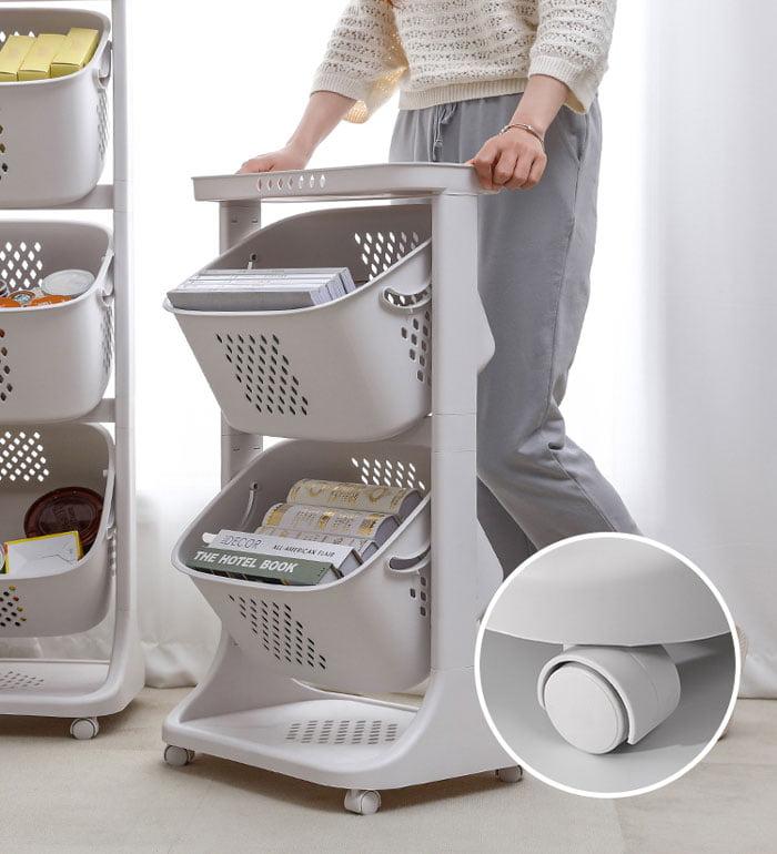 3 Layer Multi-Storage Rack Kitchen Vegetable Fruit Basket Home Universal Wheel Shelf For Clothes Toys Organizer