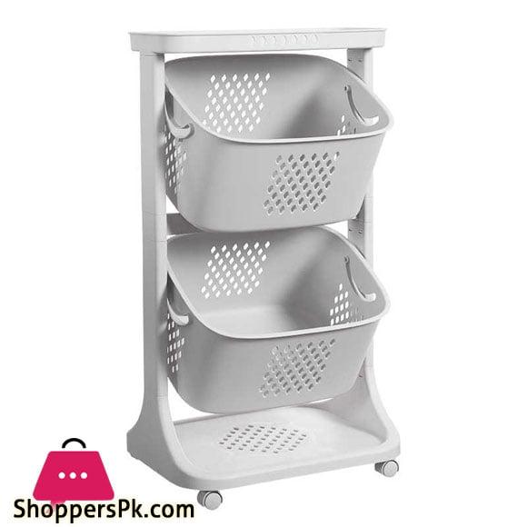 2 Layer Multi-Storage Rack Kitchen Vegetable Fruit Basket Home Universal Wheel Shelf For Clothes Toys Organizer