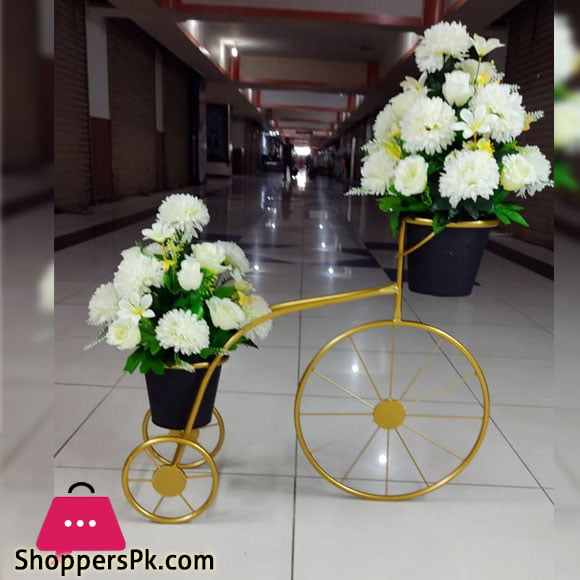 2 Tier Rod Iron Planter Stand Cycle with Flower ( 4 Feet x 3 Feet )