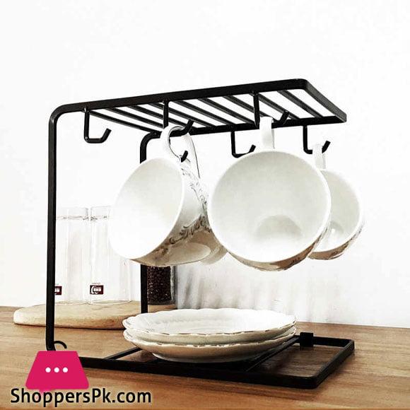 2 Tier Tea Coffee Cup Holder Kitchen Mug Dish Multi-functional Drying Storage Racks with 6 Hooks