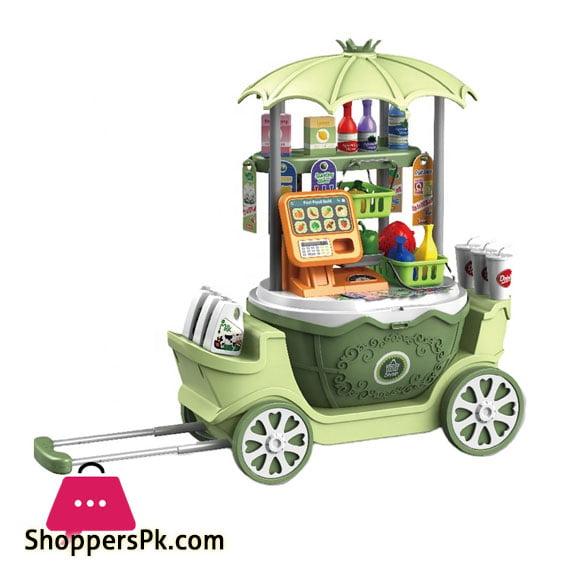 4 in 1 Surprise Supermarket Set Portable Trolley Case and Basket Mobile Stalls for Kids