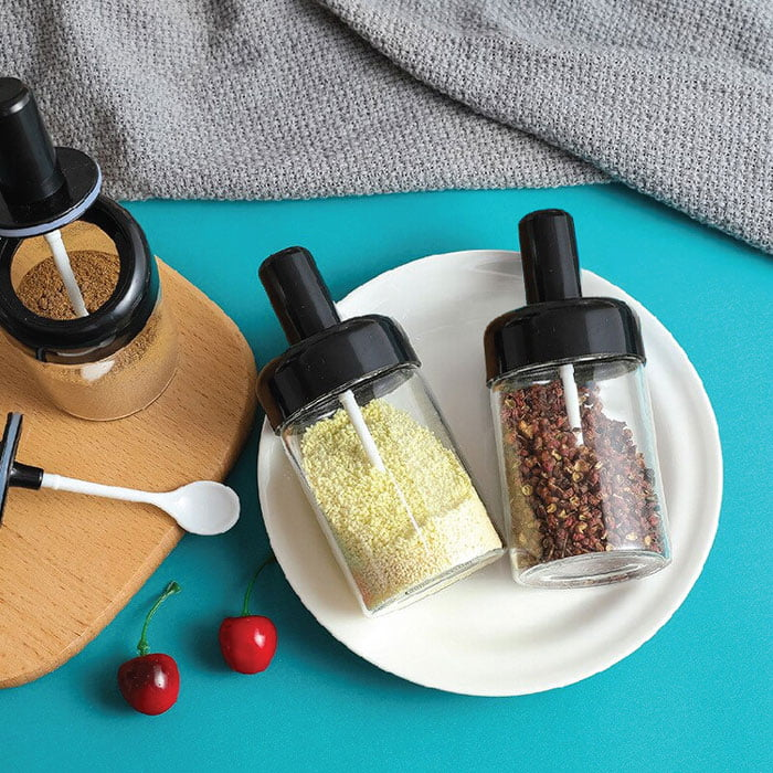 6-Pieces Spices Seasoning Bottles Jars with Spoon Rotation Base