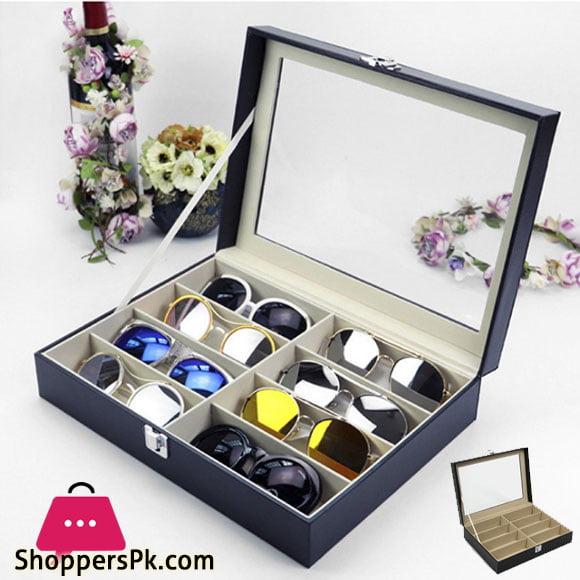 8 Grids PU Leather Sun glasses Case Organizer Box Google Box