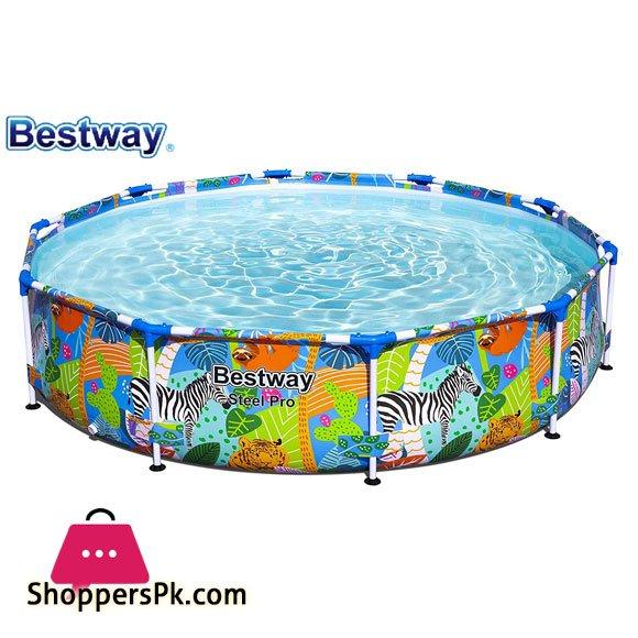 Bestway Safari Swimming Pool Garden Round Frame Above Ground Pool Steel Pro - 56985