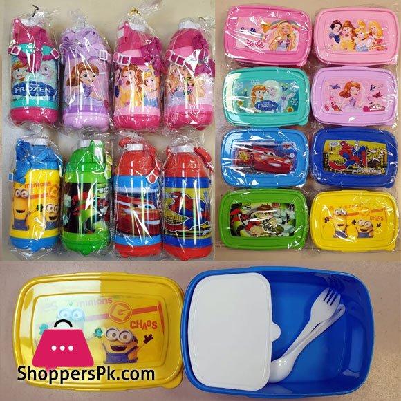 Disney Cartoon Characters School Lunch Box + School Plastic Water Bottle Pack of 2