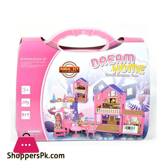 Dream Home Buildable Dollhouse With Accessories in Suitcase