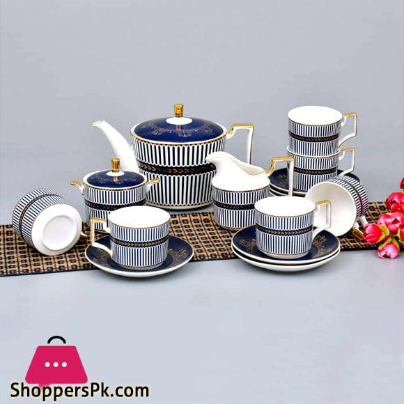 Egyptian Blue Artistic Pattern Tea Set-15 Pcs