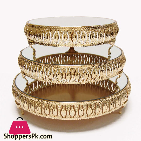 Gold Decor Cake Stand Round Metal Pedestal Holder Set of 3