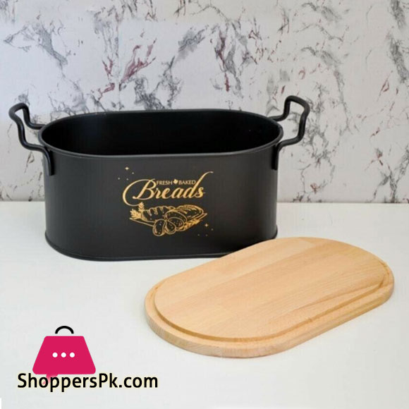 High Quality Bread Box with Wooden Lid + Cutting Board