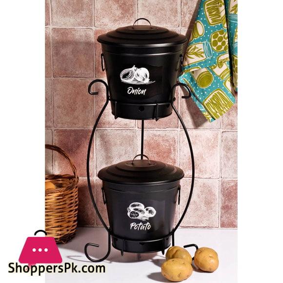 High Quality Metal 2 Tier Potato Onion Basket