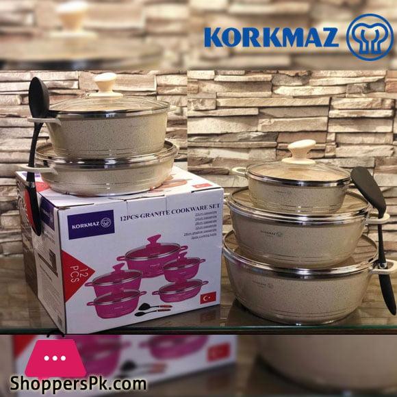 Korkmaz 12 Pcs Granite Cookware Set ( Turkey Made )