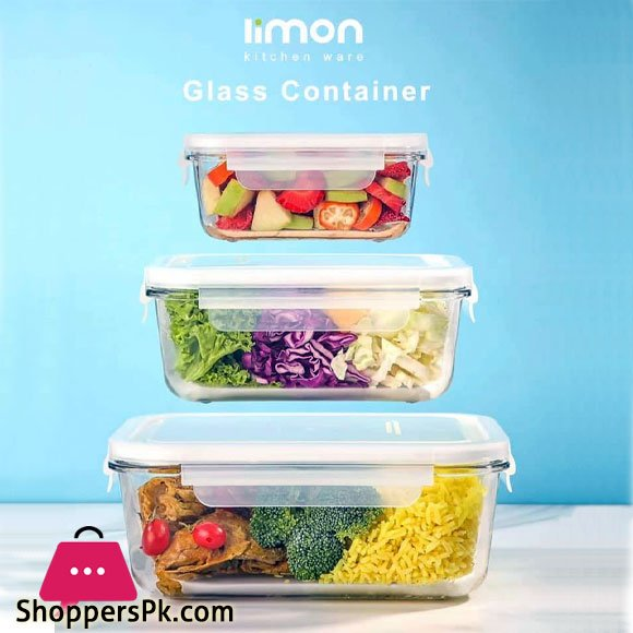 Limon Kitchen Ware Glass Food Container 3 Pcs Set