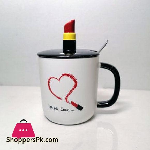 Lipstick Mug Lid with Spoon