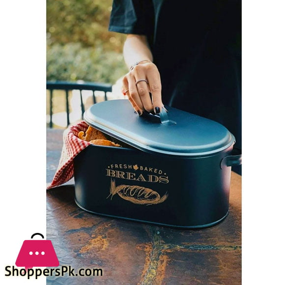 Luxury Metal Large Covered Patterned Bread Box