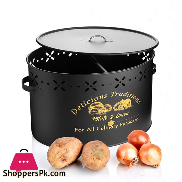 Luxury Metal Potato Onion Bucket With Section