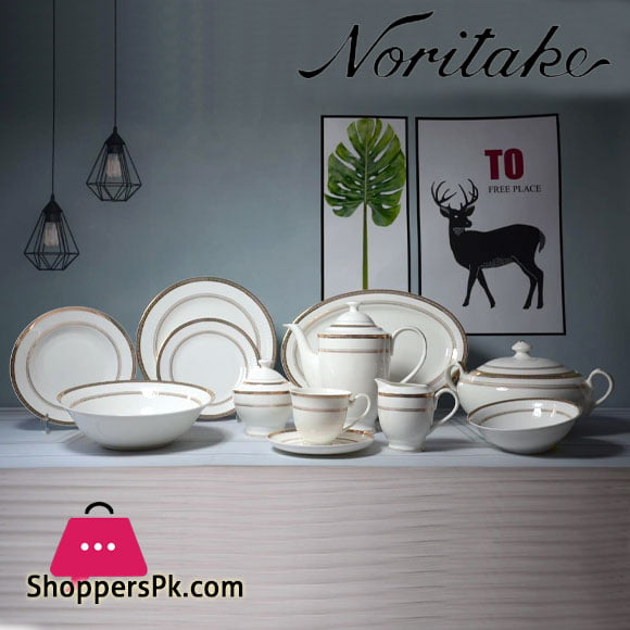 Noritake Super Bone Charlotta Gold 61 Pcs Dinner Set 8 Person Serving