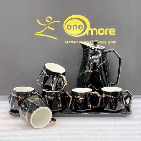 One More Black N Gold Ceramic Tea Set 8 Pcs