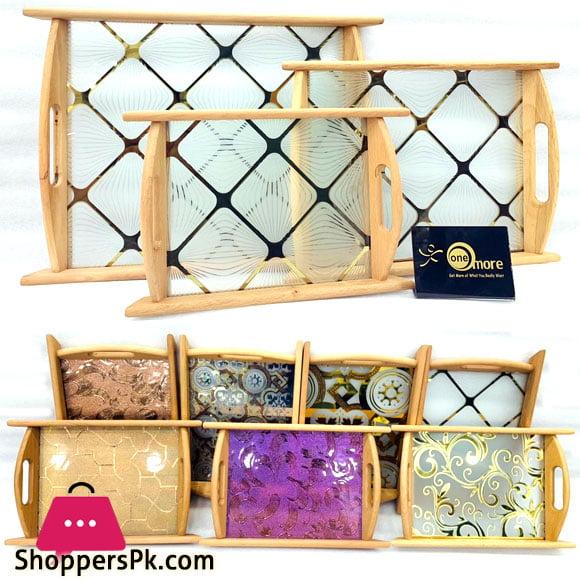 One More Elegent Wood Tray Glass Base Set of 3