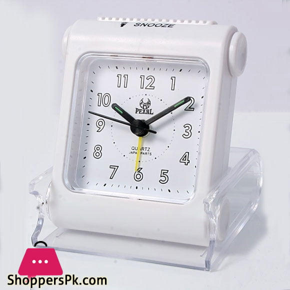 Quartz Pearl Travelling White Alarm Clock