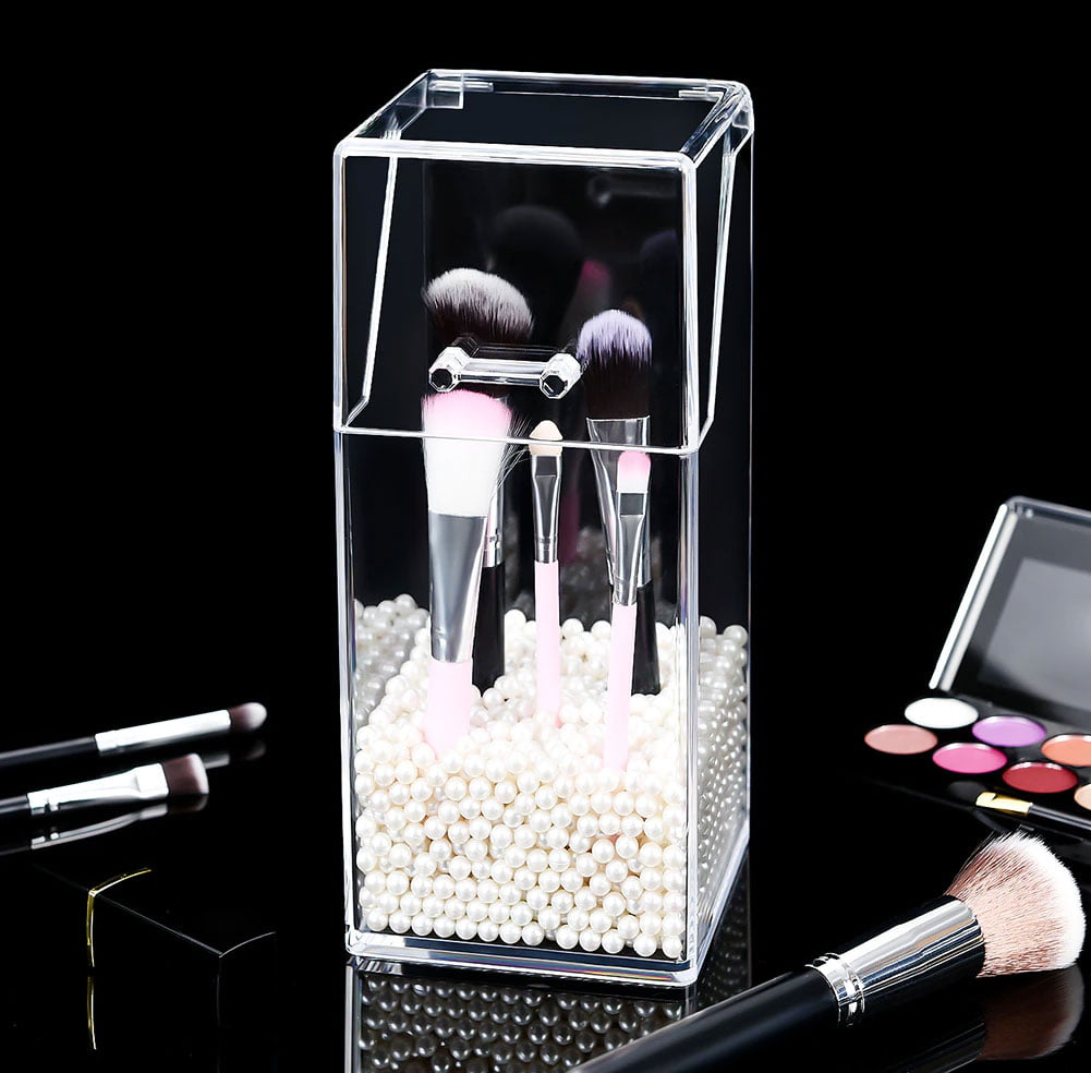Transparent Pearl Acrylic Cosmetic Makeup Organizer Brush Container