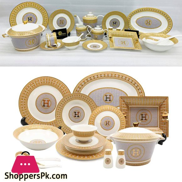 Versace Hermes Luxury Gold Plated Dinner Set 6 Person Serving 61 Pcs