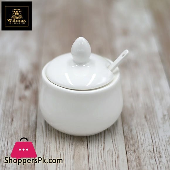 Wilmax Fine Porcelain 4 Oz | 130 Ml Mustard Pot With Spoon WL-996083/A