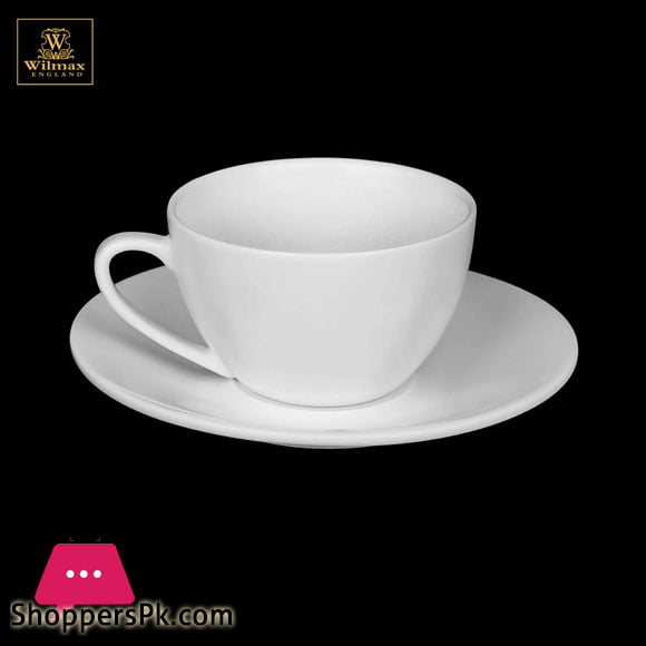 Wilmax Fine Porcelain Cappuccino Cup & Saucer 6 Oz   180 Ml WL-993001AB