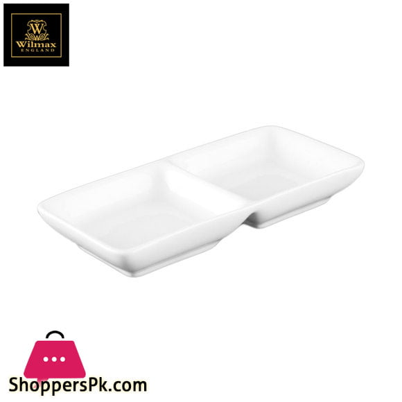 Wilmax Fine Porcelain Divided Dish 5.5 x 3 Inch WL-992415 / A