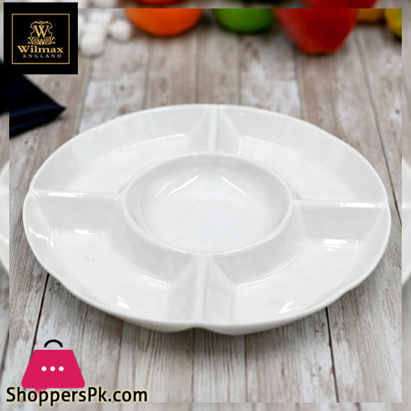 Wilmax Fine Porcelain Divided Round Dish 10 Inch - WL-992019 / A