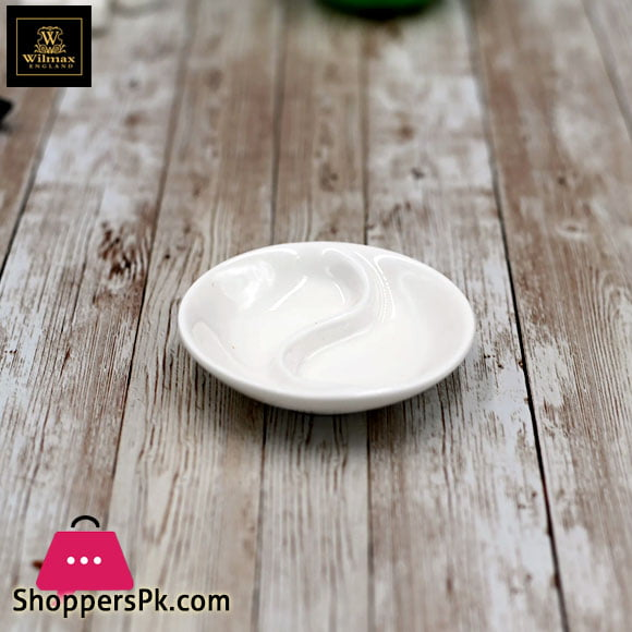 Wilmax Fine Porcelain Divided Soy Dish 3.5 Inch WL-996049 / A