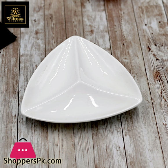 Wilmax Fine Porcelain Divided Triangular Dish 11.5 Inch WL-992586 / A