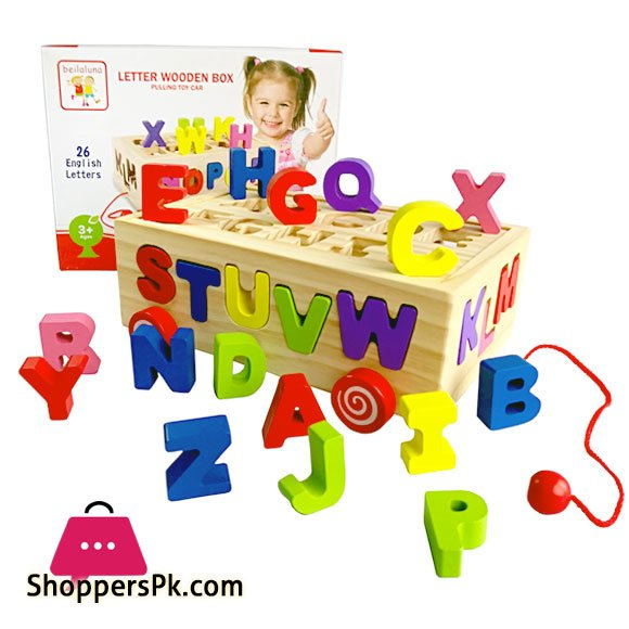 Wooden ABC Learning Pulling Toy Car