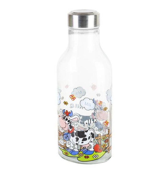 Ziba Sazan Glass Milk Bottle Cow Design 1.2 Liter Iran Made