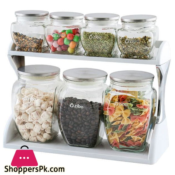 Ziba Sazan Hanna Spice Jars Set 7 Pcs Glass Jar with Steel Lid Iran Made
