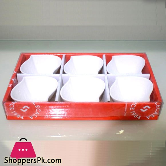 Imperial collection Ceramic Bowls Set of 6 White - S-Shape