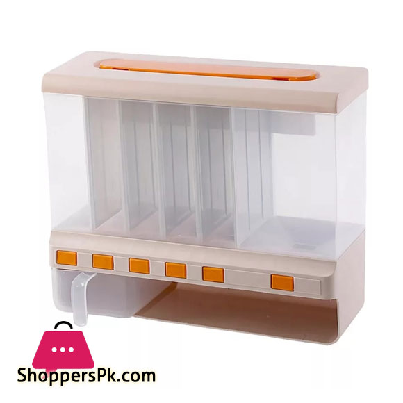 10 KG Dry Food Dispenser 6-Grid Cereal Dispensers Food Storage Container Kitchen Tank for Cereal, Rice, Nuts