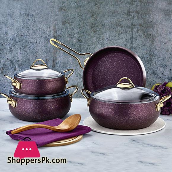 Alya Granite Casserole 7 Piece Cookware Set S-7003 Turkey Made