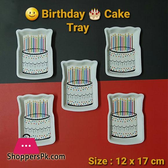 Birthday Cake Tray Melamine Plastic 12 x 7 CM