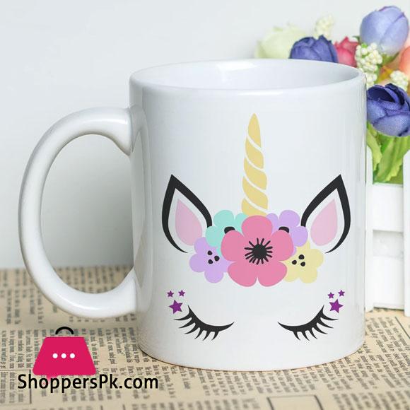 Birthday Gift Mug with Colorful Unicorn Printed Design Ceramic Coffee Cup 11oz White