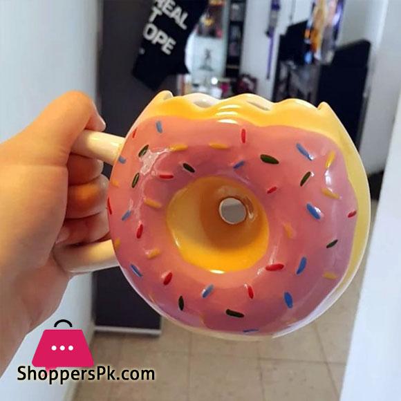 Ceramic Mug - Delicious Pink Glazed Doughnut Mug Large 14oz Mug - Funny Coffee Mug